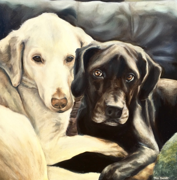 """Riley and Brewster"" 2018 - Oil on 20x20 stretched canvas"