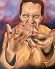 """Binge Eating"" 2018 - Oil on 16x20 canvas"